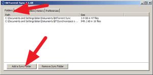 V sekci Folders stisknete Add a Sync Folder
