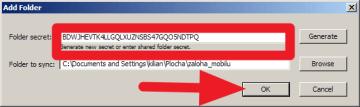 Do Folder secret zkopírujete nebo opíšete tajný kód