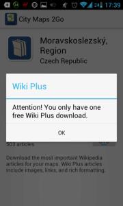 Ve verzi zdarma můžete stáhnout Wiki Plus jen k jedné mapě
