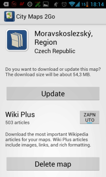 Informace, aktualizace a smazání mapy