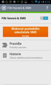 Filtr hovorů a SMS