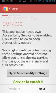 Zelený nápis Service is enabled