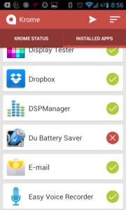 Seznam aplikací - sekce Installed Apps