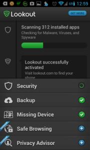 Lookout Security & Antivirus: skenování aplikací