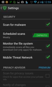 Lookout Security & Antivirus: možnosti nastavení