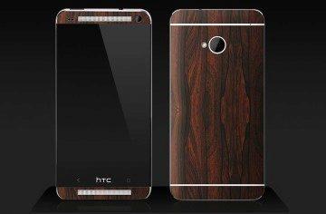 HTC One s mahagonovým polepem
