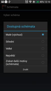Velikost a vzhled ikon je také možné změnit.