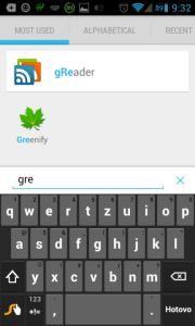 Vyhledávání s výchozí klávesnicí