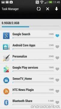 Snímek obrazovky z Androidu 4.3 pro HTC One