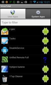 VirusTotal: seznam aplikací