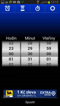Budík (Alarm) Xtreme: časovač neboli minutka