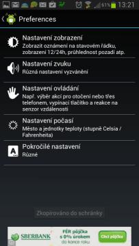 AlarmDroid: nastavení aplikace