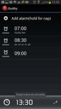 Alarm Clock Plus: seznam nastavených buzení