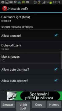 Alarm Clock Plus: možnosti nastavení buzení