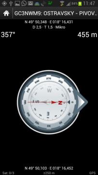 Navigace ke keši s pomocí kompasu