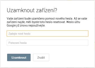 Funkce zámek ve webové správě Správce zařízení Android