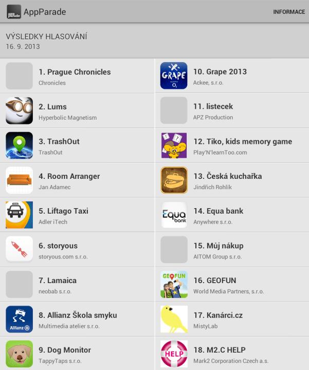 AppParade 12 - Pořadí aplikací