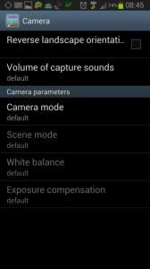 Nastavení: sekce Camera