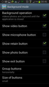 Nastavení: sekce Background mode