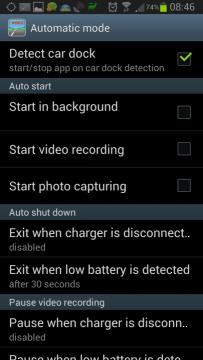 Nastavení: sekce Automatic mode