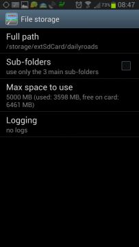 Nastavení: sekce File storage