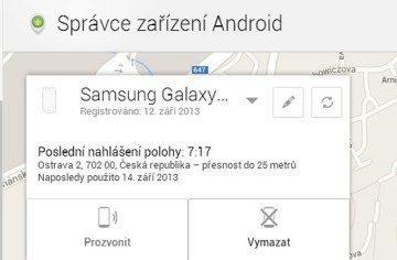 Dosavadní nabídka funkcí Správce zařízení Android