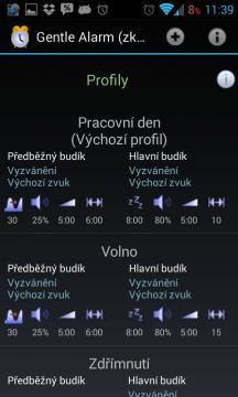 Gentle Alarm: nastavení profilů