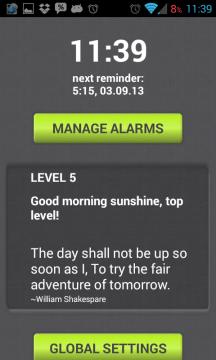 Morning Routine: úvodní obrazovka