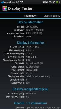 Informace o obrazovce z programu Display Tester