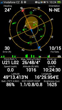 Fix na deset satelitů, vidí 15