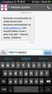 Editor SMS nepočítá napsané znaky