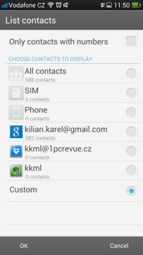 Možnosti zobrazení kontaktů