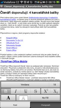 Quick Office: editace dokumentu