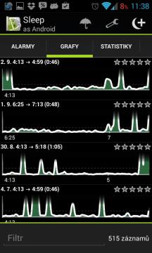 Sleep as Android: spánkové grafy