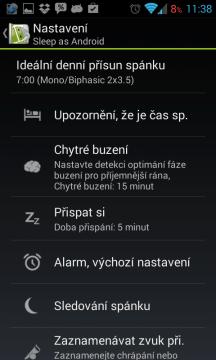 Sleep as Android: globální nastavení