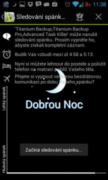Sleep as Android: sledování spánku