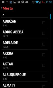 Hodiny z Androidu 4.2: výběr místa k zobrazení času