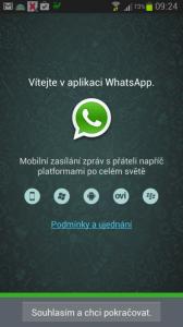 Přivítání v aplikaci