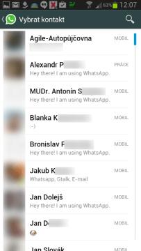 Seznam kontaktů podle abecedy
