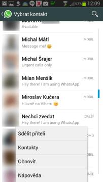 Kontextová nabídka seznamu kontaktů