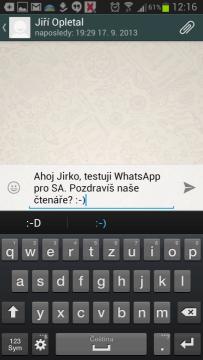 Psaní zprávy ve WhatsApp Messengeru