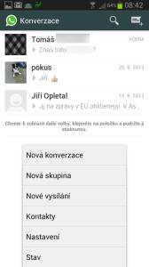 Kontextová nabídka seznamu konverzací