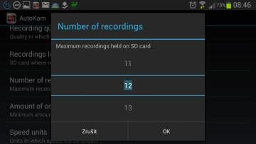 AutoKam:  počet nahrávek, které chcete mít uložené