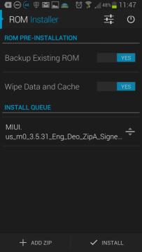 Sekce ROM Installer