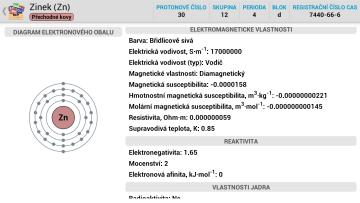 Periodická tabulka pro Android - podrobnosti o prvku