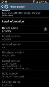 Snímek z Androidu 4.3 na Note II