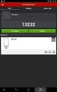 Asus MeMO Pad HD 7 - Antutu benchmark 13232