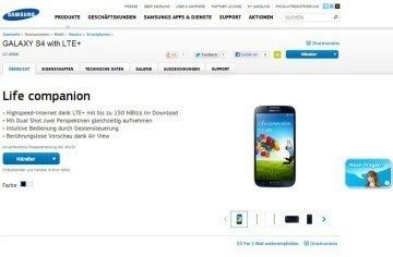 GALAXY S4 s LTE+ na německém webu Samsungu