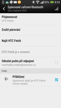 HTC Fetch - nastavení