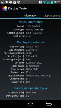Informace o displeji z aplikace Display tester